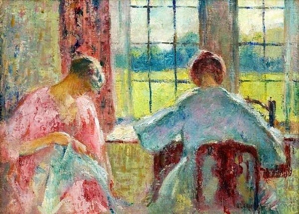 It's About Time: Sewing indoors - 1900s by American artists