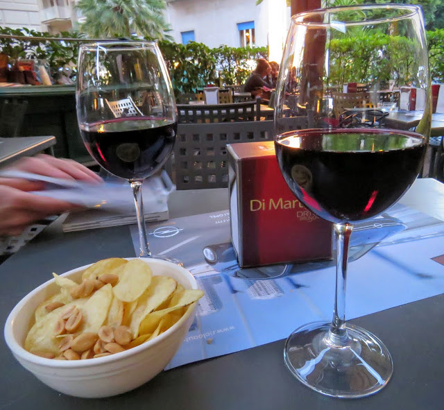 Sicilian Food - wine and crisps