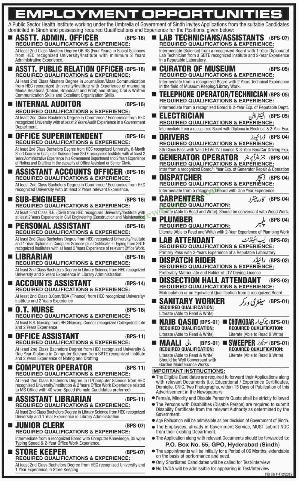Multiple jobs in Public Sector Health Institute Working in Pakistan