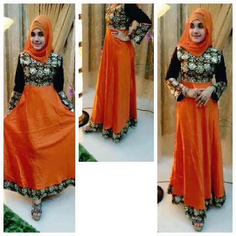 20 desain baju gamis model turki kombinasi sari india Baju gamis model india 2015