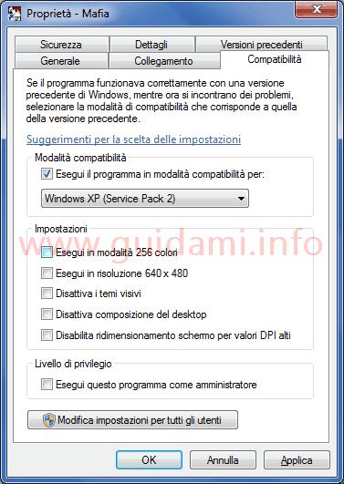 Finestra Proprietà icona avvio gioco scheda Compatibilità in Windows 7