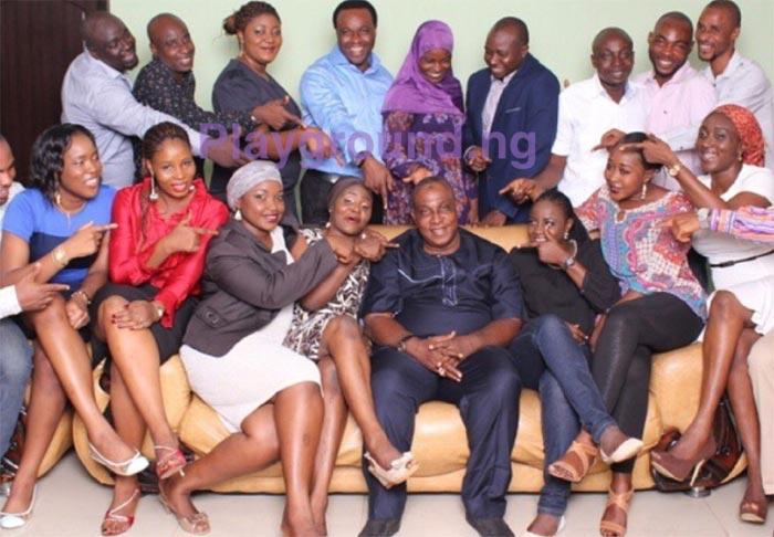 Yoruba actor Oga Bello poses with his 17 children