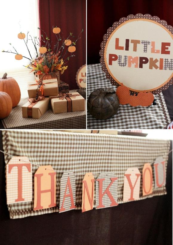 Little Pumpkin Baby Shower Party Ideas - via BirdsParty.com