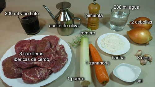 Carrilleras ibéricas al vino tinto. Ingredientes