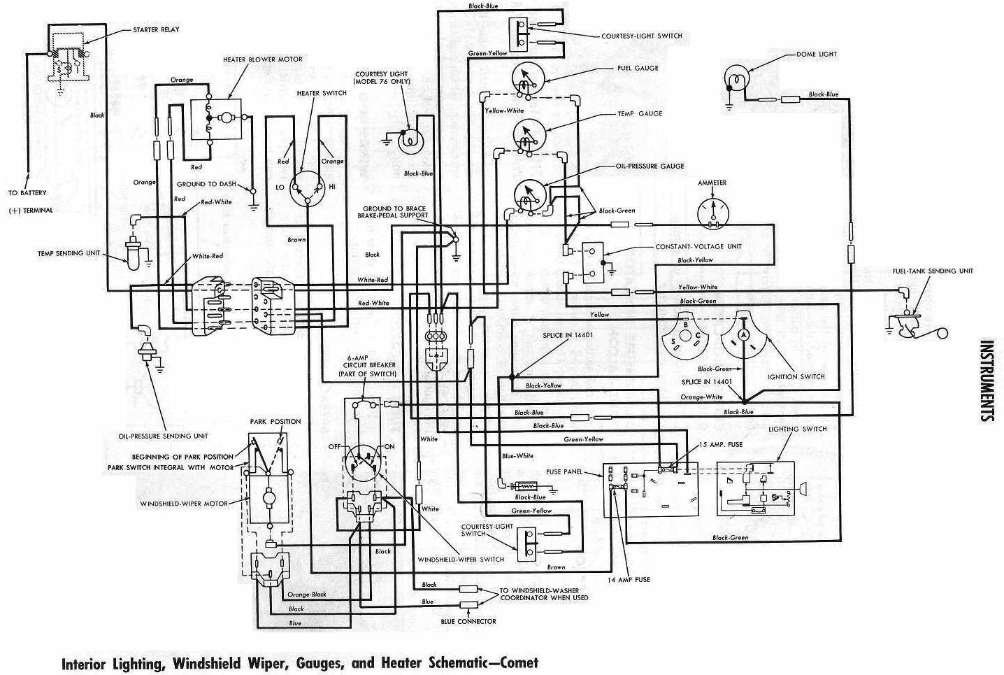 mercury comet 1964 instrument wiring diagram