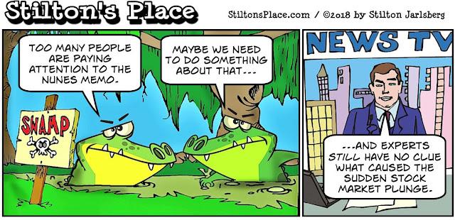 stilton's place, stilton, political, humor, conservative, cartoons, jokes, hope n' change, stock market, crash, glitch, plunge, nunes, memo, manipulation