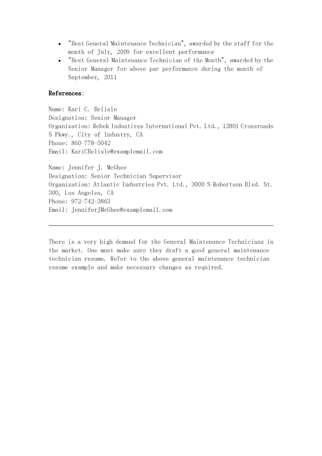 general maintenance technician sample resume