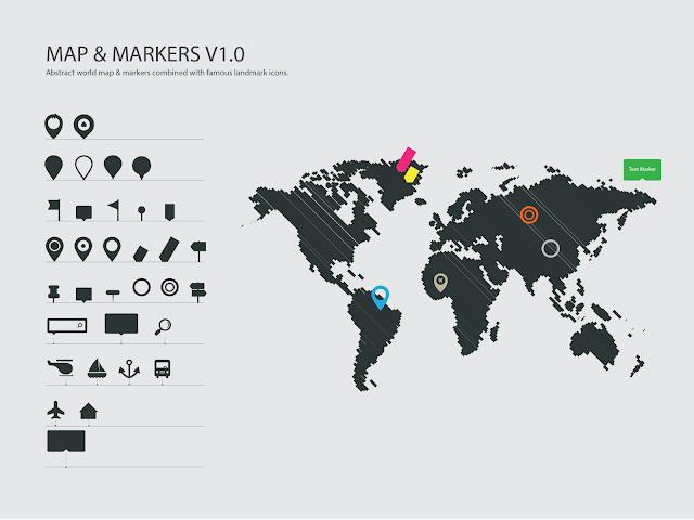 atau penanda sering kita lihat pada desain Vector World Map & Markers   Ikon Penanda/Pin