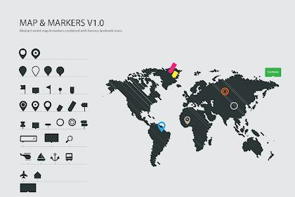 Vector World Map & Markers   Ikon Penanda/Pin