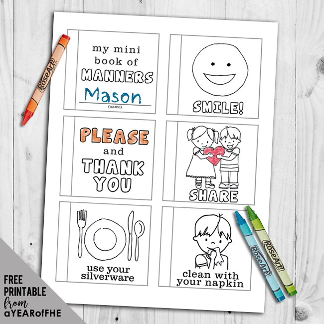 a year of fhe free mini coloring book about manners you can download and