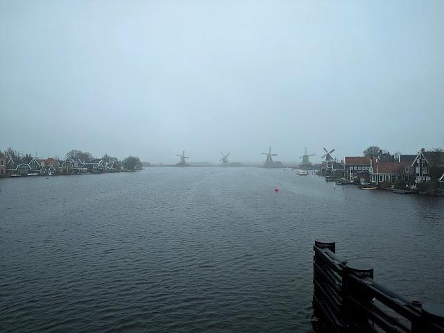 Zaanse Schans landscape: beautiful river and windmills