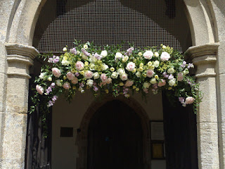 Wedding flowers church door Suffolk