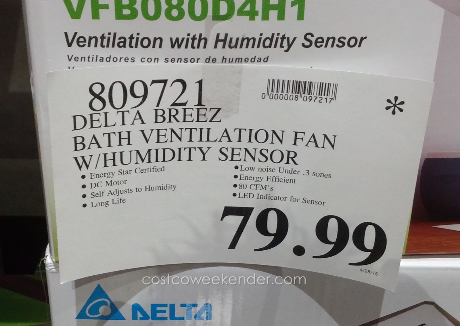 Delta Breez Vfb080d4h1 Bath Ventilation Fan System To Control The Humidity