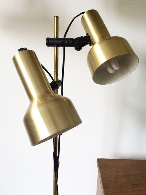 retro standerlampe Retro Furniture: Dobbelt messing standerlampe retro standerlampe
