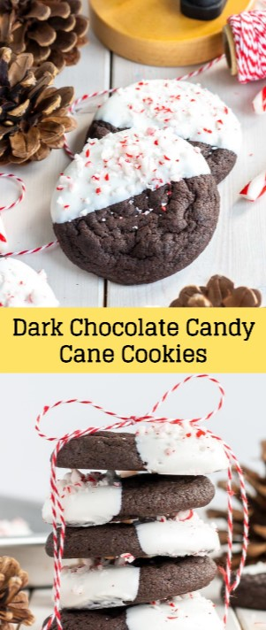 Dark Chocolate Candy Cane Cookies #christmas #cookies