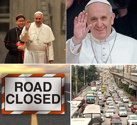 Updated List of Alternative Routes for Pope Francis Visit on January 15 to 19, 2015