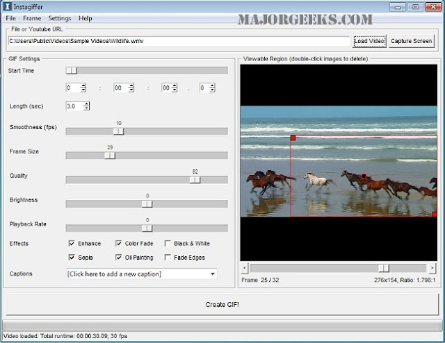 تحميل برنامج Instagiffer لتحويل مقاطع الفيديو لصور متحركة