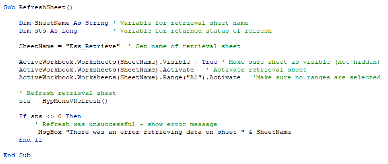 Executing Smart View Retrievals using VBA