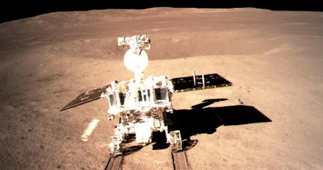 "Photo provided by the China National Space Administration on Jan. 3, 2019 shows Yutu-2, China's lunar rover, leaving a trace after touching the surface of the far side of the moon. China's lunar rover, Yutu-2, or Jade Rabbit-2, left the first ever ""footprint"" from a human spacecraft on the far side of the moon late at night on Thursday, after it separated from the lander smoothly. The process was recorded by the camera on the lander and the images were sent back to the Earth via the relay satellite ""Queqiao"", the China National Space Administration (CNSA) announced. Launched on Dec. 8, 2018, China's Chang'e-4 lunar probe, comprising a lander and a rover, landed on the far side of the moon on Thursday morning. (Xinhua)"