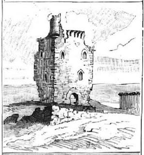 Suances. Ilustración publicada en los años ochenta en la que aparece la torre situada a la entrada de la ría