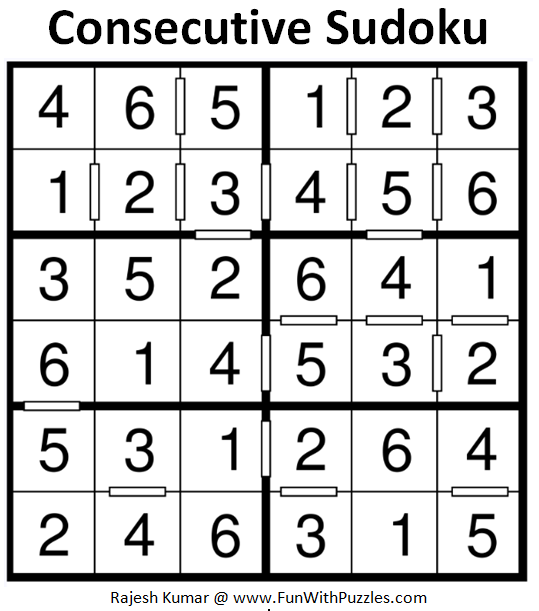 Consecutive Sudoku (Mini Sudoku Series #79) Solution
