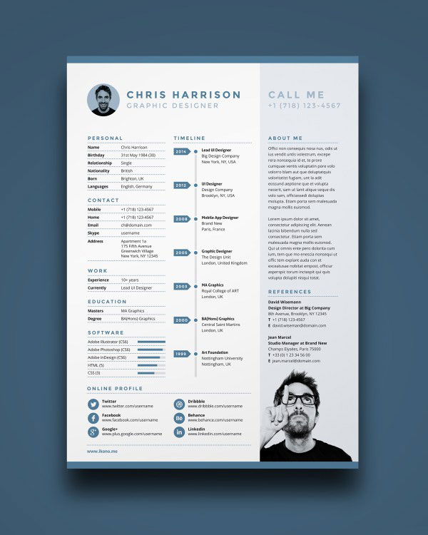 Professional Resume Templates Free: 49 Free Professional CV / Resume Templates PSD Mockup