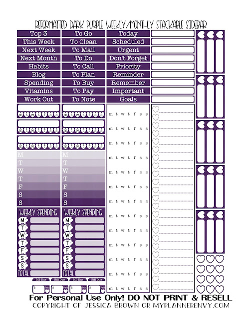 Free Printable Reformatted Weekly/Monthly Stackable Sidebar in Dark Purple from myplannerenvy.com