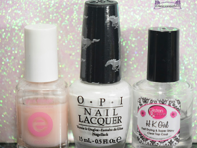 Essie Grow Stronger, O.P.I Angel With A Lead Foot, Glisten & Glow HK Girl Fast Drying Top Coat