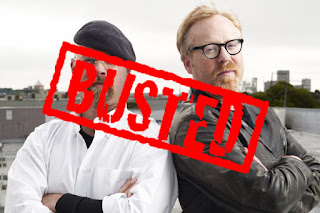 "Mythbusters picture with the word ""busted"" over the picture."