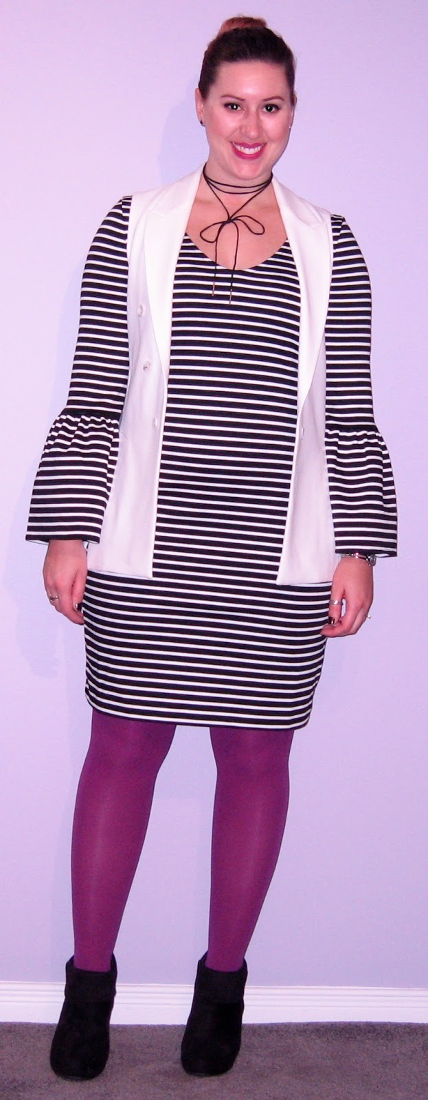 ff05a908da Today s outfit started out pretty basic and monochromatic. I had a black  and white striped bell-sleeve dress with a ...