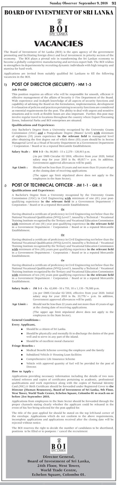 Director, Technical Officer - Board of Investment (BOI)