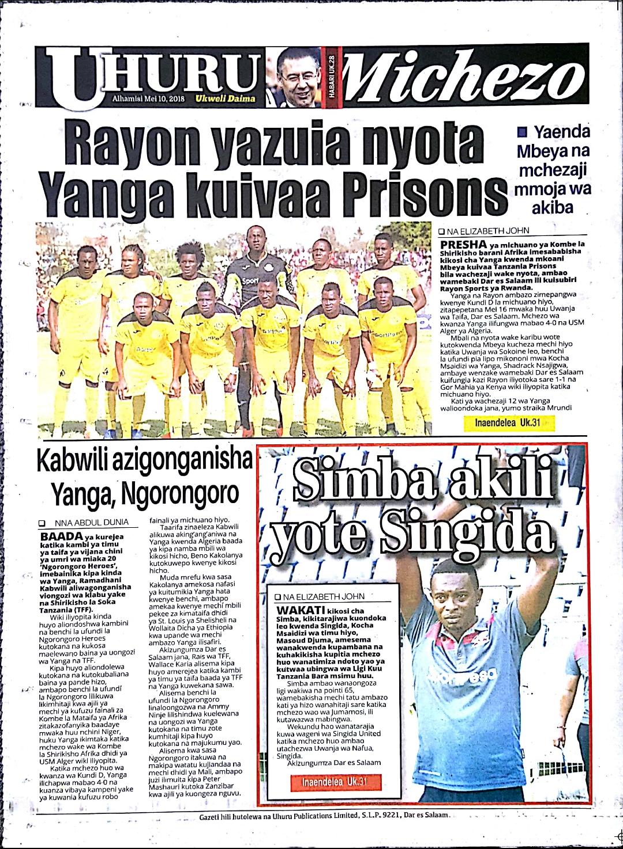 Tanzanian Today S Newspapers Magazeti Ya Leo Alhamisi 10th