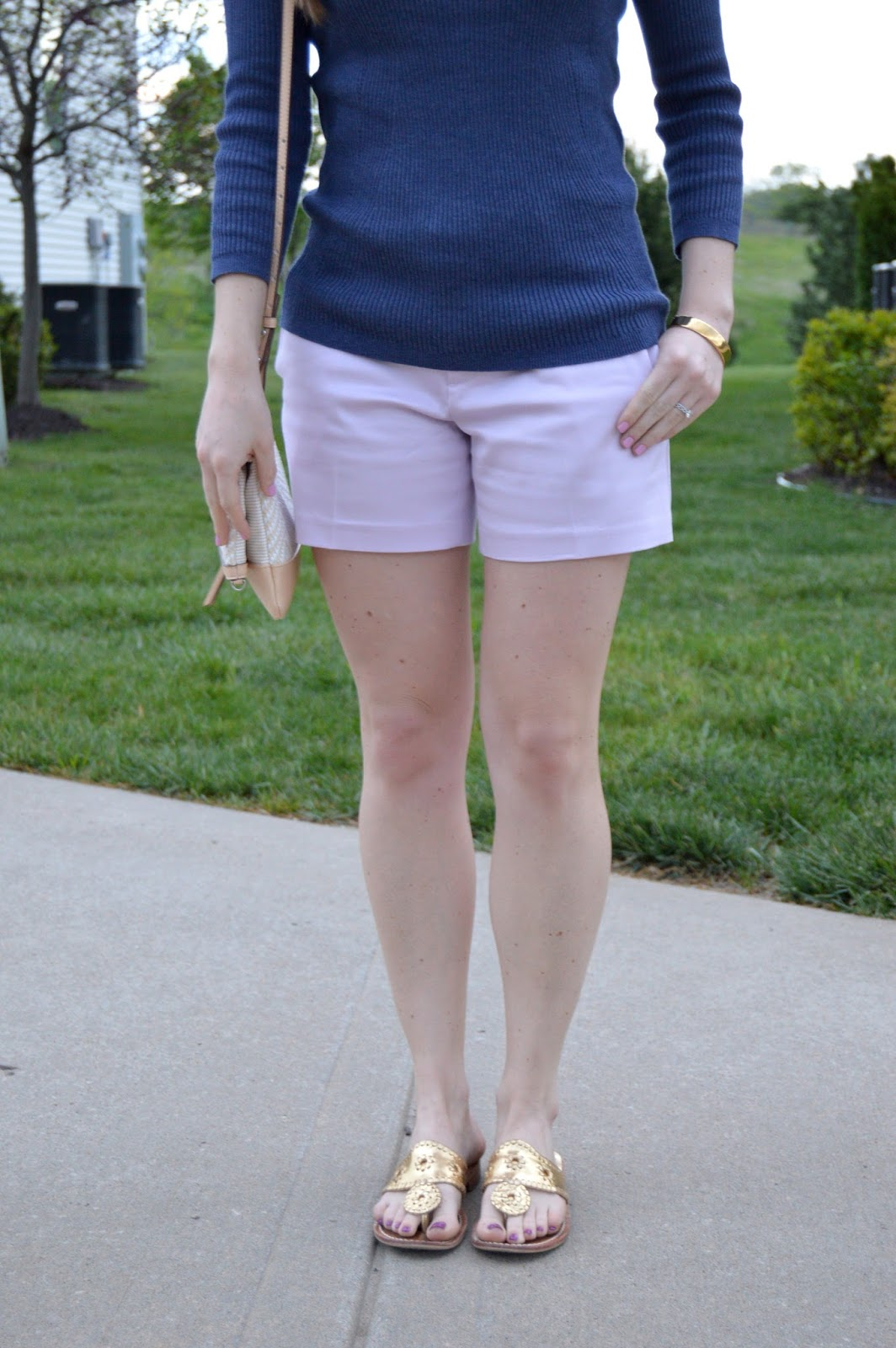 shorts with a sweater | spring outfits | purple and blue | a memory of us | gold jack rogers