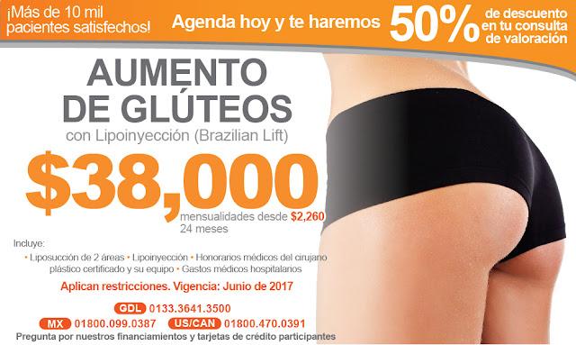 Precio cirugia plastica aumento de gluteos con lipoinyeccion grasa