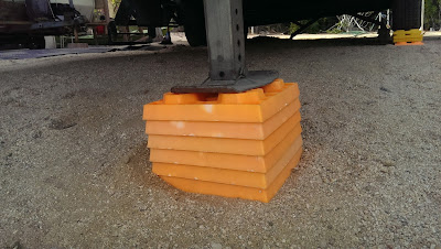Use leveling blocks to shorten the landing gears and jacks when leveling your RV