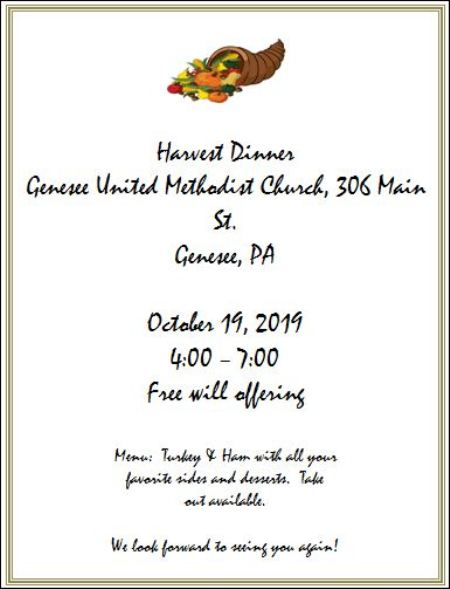 10-19 Harvest Dinner at Genesee United Methodist Church