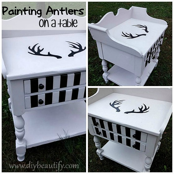 Bold Table Makeover with Antlers ~ full tutorial at www.diybeautify.com