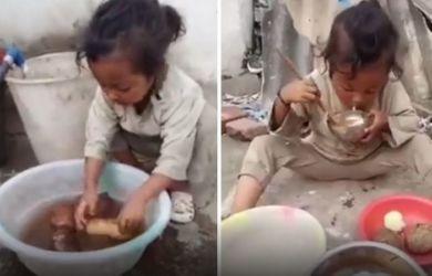 Viral! Bocah 7 Tahun Hidup Seorang Diri di Gunung