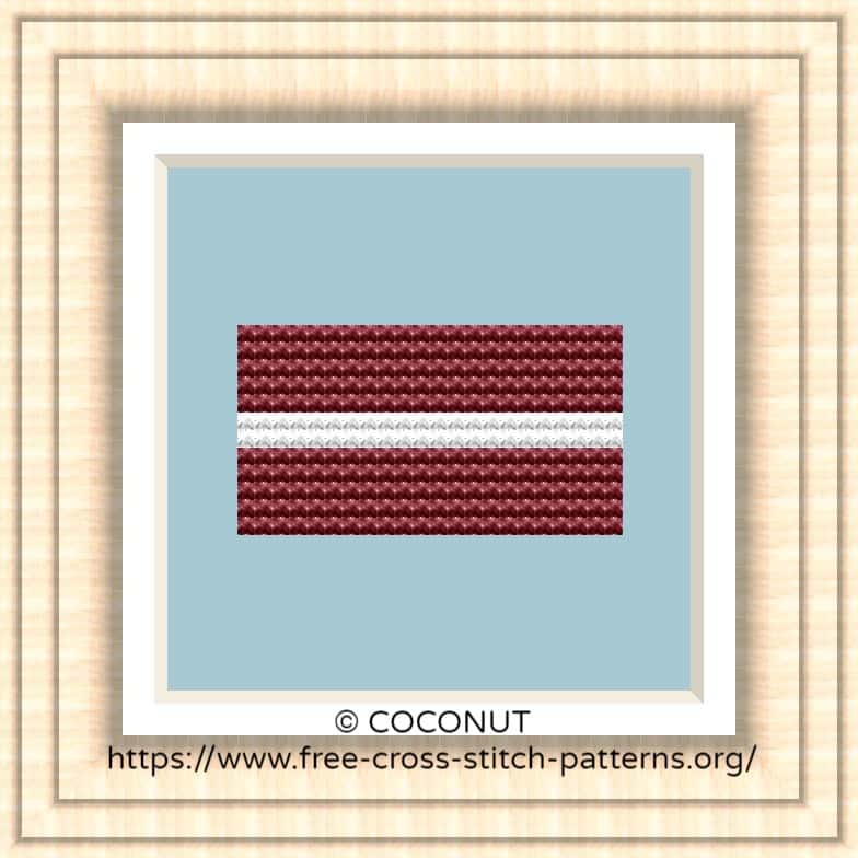 NATIONAL FLAG OF LATVIA CROSS STITCH CHART