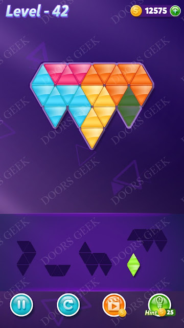 Block! Triangle Puzzle 5 Mania Level 42 Solution, Cheats, Walkthrough for Android, iPhone, iPad and iPod