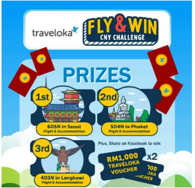 Jom sertai Traveloka Fly & Win CNY Contest,  nak travel free traveloka contest, hadiah Traveloka Fly & WIn CNY Contest Traveloka Fly traveloka promo traveloka promo code traveloka kereta api traveloka pesawat