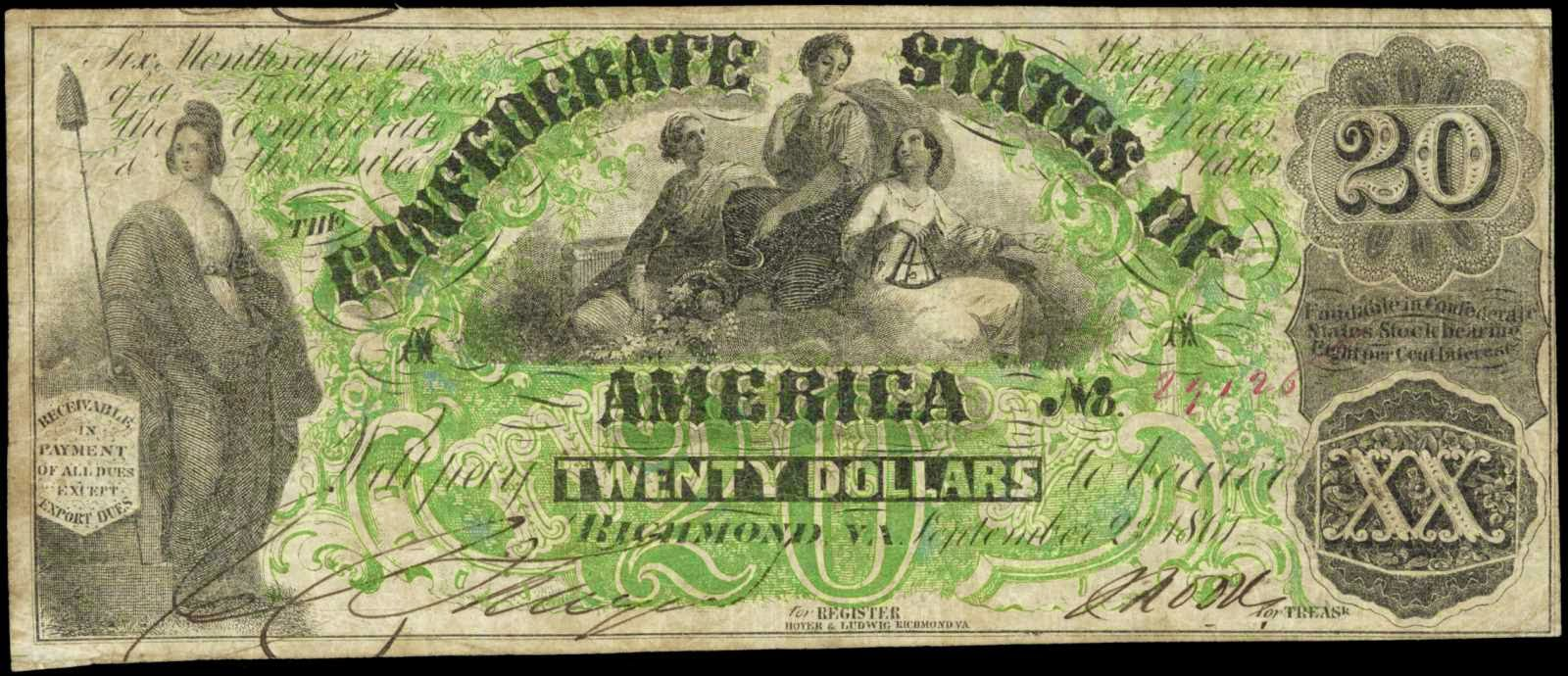 Confederate Currency 1861 20 Dollar Bill T-17