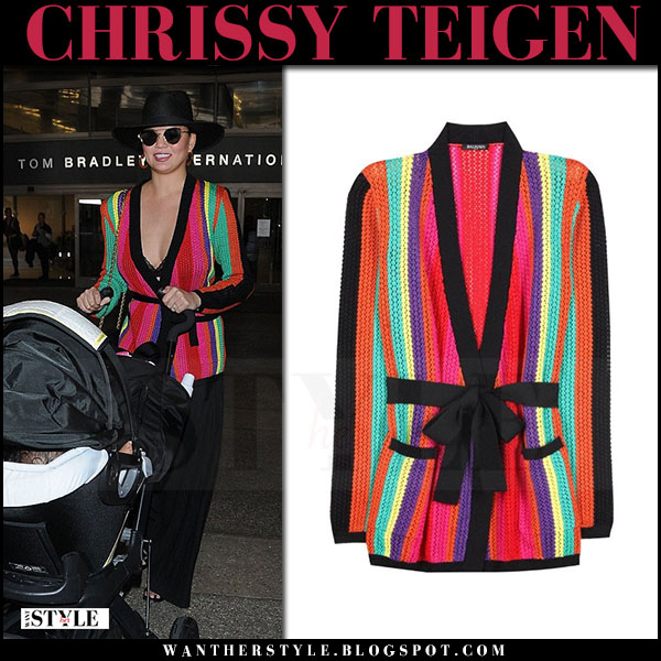 Chrissy Teigen in striped knitted balmain macrame cardigan and cat eye sunglasses fendi lei cat what she wore march 2017
