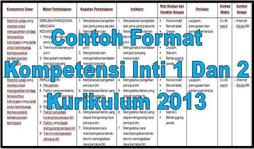Download Contoh Format Kompetensi Inti 1 Dan 2 Kurikulum 2013