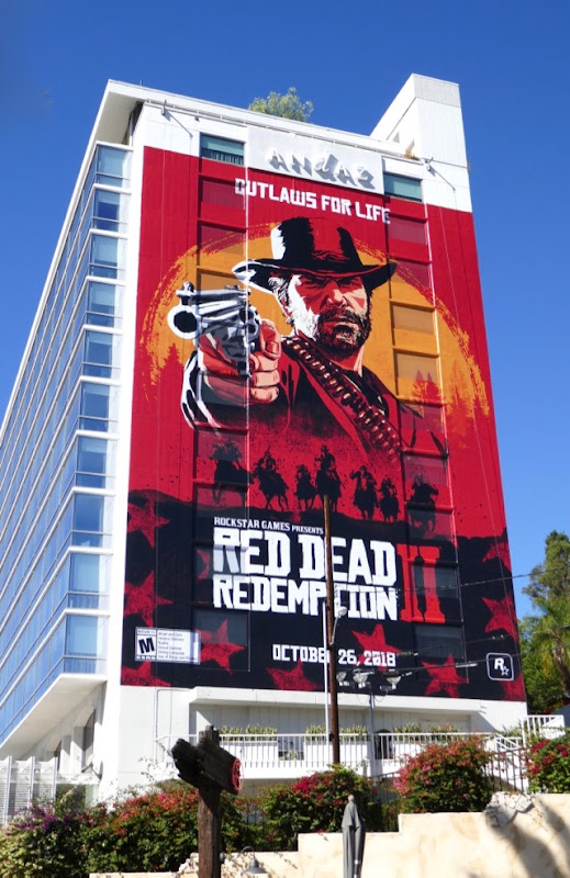 Giant Red Dead Redemption II game billboard