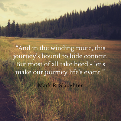 "Here's a contemporary poem that middle schoolers really relate to.  It's ""Journey to Be"" by Mark R. Slaughter."