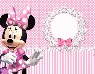 Etiquetas de Minnie con Rayas Rosa para imprimir gratis.