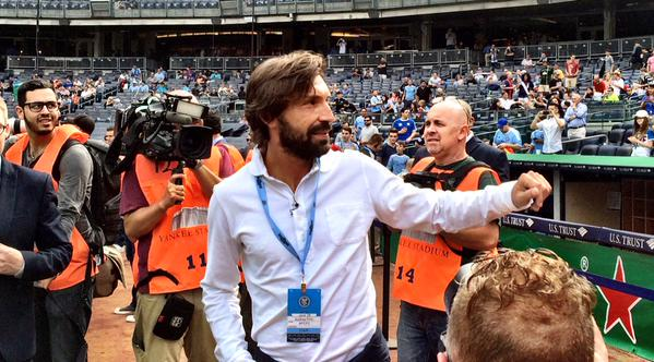 Andrea Pirlo obliges kiss cam request at New York City FC match [GIF]