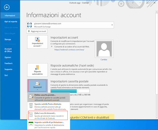 Outlook, Pulisci vecchi elementi...