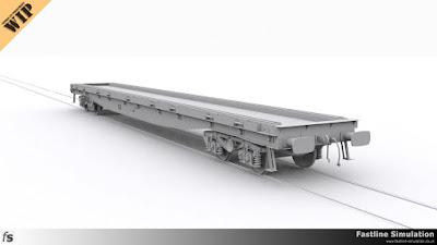 Fastline Simulation: In progress render of a YQA Parr sleeper carrying wagon with 9 load ratchets on each side.